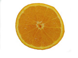 this is a close-up of an orange cut in half. poster