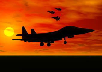 jet fighter taking off
