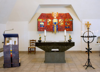 interior of small colourful church