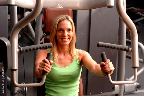 poster of beautiful woman in fitness gym