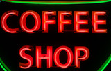 neon coffee shop sign poster