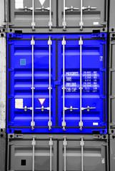 container blau-schwarz/weiß