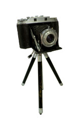 retro camera attached to tripod