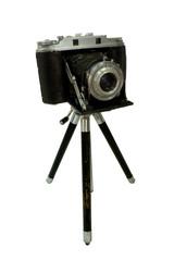 retro camera attached to tripod
