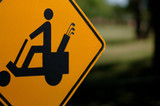 golf cart caution sign poster