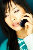 girl talking cell poster