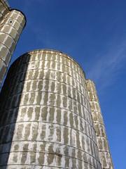 silo and blue sky.