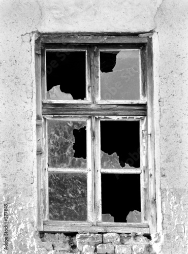 old window in black and white