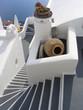 steps leading to a beautiful sea view, santorini,
