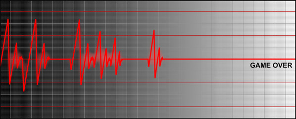 cardiogram ending with 'game over'