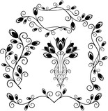 elements for design (tulip, bud, vase, bouquet) poster