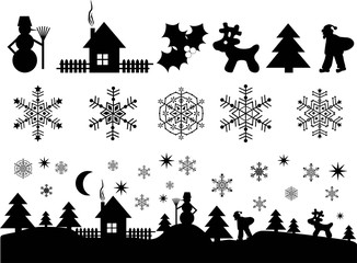 christmas, new year's elements for design