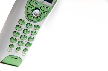 green and white telephone