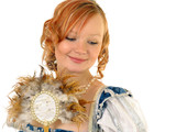 girl in polish clothes of 16 century with mirror-fan poster