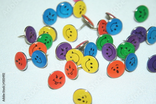 smiley faced thumb tacks