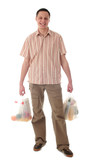 man holding shopping bags poster