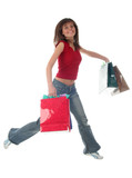 jumping girl with shopping bags poster
