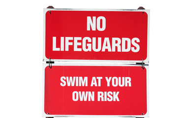 no lifeguards sign
