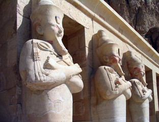 guardians at the temple of queen hatshepsut, egypt