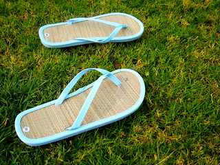 thongs on the grass