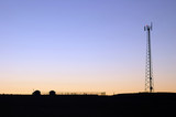 communications tower at sunset poster
