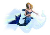 blonde mermaid - includes clipping path poster