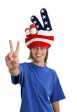 patriotic teen - peace sign poster