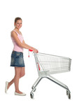 woman with shopping cart poster