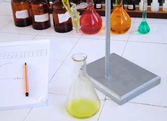 school chemistry laboratory desk