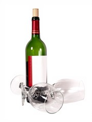 wine glasses bottle