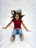 happy girl jumping poster