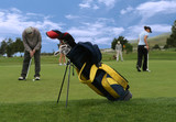 golf scene (focus on golf bag) poster