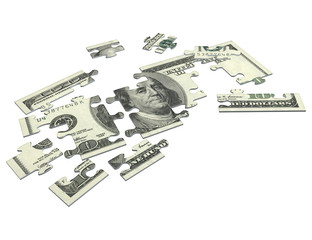 cash puzzle american 3d (with clipping path)