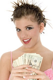 beautiful teen with cash poster