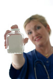 nurse holding bottle of pills with blank label poster