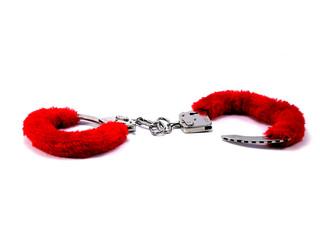 red hand cuffs