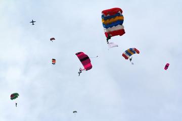 parachutes raining down