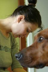 sad girl with dog