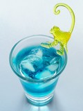 blue cocktail with ice poster