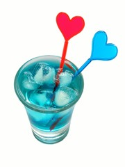 blue cocktail with hearts.