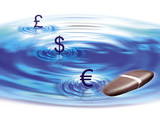 currency pool with pebble bouncing off surface poster