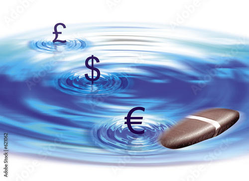 currency pool with pebble bouncing off surface