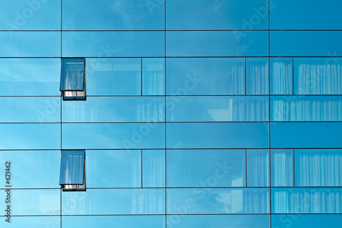 reflection in an office building glass wall
