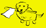 dog with white flag poster