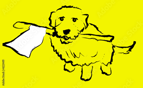 poster of dog with white flag