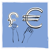 euro pound illustration poster