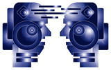 two robot heads poster