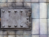 old heating furnace door poster
