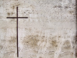 stone tomb engraved cross poster