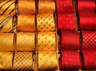 orange and red ties shopping